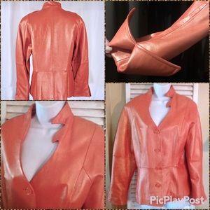 Terry Lewis Pearl Metallic Dramatic Leather Jacket